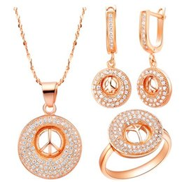 noble white gold chain champagne*silver color circle diamond set lady's necklace (45cm) earings ring (8 9 ) (sp3658)