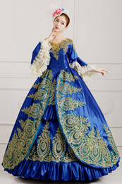 100%real blue green golden embroidery ball gown Medieval dress Renaissance gown princess dress Victorian Gothic Marie Antoinett Belle Ball
