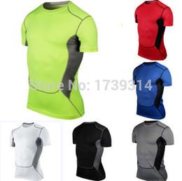 Descuento capas base Venta al por mayor-HOT! Mens Deportes desgaste de la compresión debajo de la base de la capa de manga corta camisetas Athletic