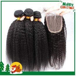 8A Peruvian Virgin Hair Coarse Yaki With Closure Kinky Straight Weave With Closure 100% Human Hair Bundles Italian Yaki With Lace Closures