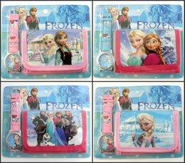 Wholesale Frozen Anna Elsa despicable me in Purse Wallet and watch sets kids children Spidermen cartoon quartz boy girls Christmas gift watches