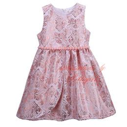 Pettigirl Girls Elegant Flower Dress Pink O-Neck Kids Vest Dresses With Pearls Wholesale Children Clothing GD81125-335F