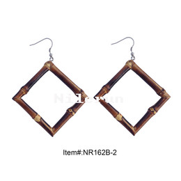 diamond square shape carbonized black bamboo root earrings