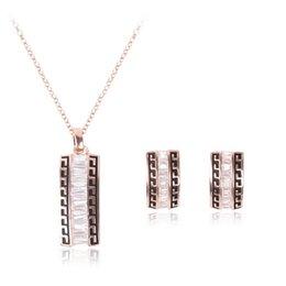 Zircon Necklace Earrings Jewelry Sets High Quality Austria Crystal Women Jewelry Set 18kgp Fine Jewelry CAL11051J