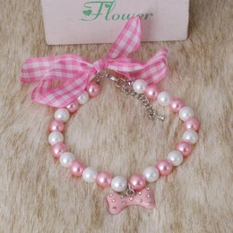 Wholesale Crystal Puppy Collars Free Shipping - Wholesale-dog pearls necklace collar crystal bone pendant,Pet Puppy Cat jewelry free shipping  S M L XL001