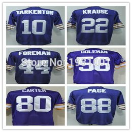 Wholesale Factory Outlet Cheap Throwback Football Fran Tarkenton Paul Krause Chuck Foreman Chris Doleman Cris Carter Alan Page Jer