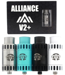 Wholesale Upgraded Alliance V2 RDA Rebuidable Dripping Atomizer V2 Square Center Post Root With Wide Bore Drip Tips Fit Mods DHL Free ATB450
