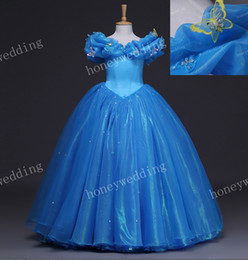 2019 Real Image Kids Cosplay Cinderella Dress Flower Girl Dresses Child Wedding Party Princess Ball Gown Girls Pageant Gowns Size 12