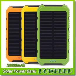 20000mAh 2 USB Port Solar Power Bank Charger External Backup Battery With Retail Box For iPhone iPad Samsung Free shipping
