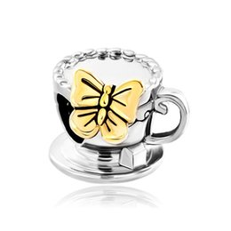 fashion butterfly on coffee cup in Gold and rhodium Plating Bead European Charm Fit Pandora Bracelet