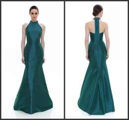 Wholesale Jewel Neckline Evening Dresses T Back Sleeveless Deep Bluegrass Crystals Beaded Long Mermaid Formal Party Gowns KR Prom Pageant Dress