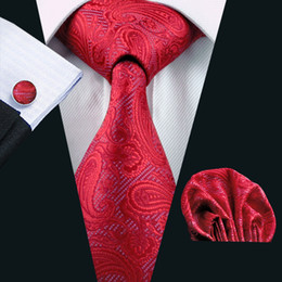 Red Paisely Mens Tie Set Hanky Cufflinks Silk Jacquard Mens Woven Classic Necktie Free Shipping N-0293
