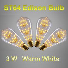 Wholesale Antique Style ST64 Edison Bulbs E27 B22 Warm White W Decorative Clear Glass Globe Light Retro Squirrel Cage Pendant Lamp Bulb