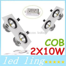 20W Dimmable Led Downlights Square Recessed Ceiling Lights High Power 2X10W COB Cool Warm White Led Downlights rs