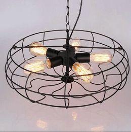 Wholesale Industrial Vintage Metal Fan Pendant Lamp Steampunk Ceiling Chandelier Light for Garage Study Room Office Kitchen Dining Room Bedroom