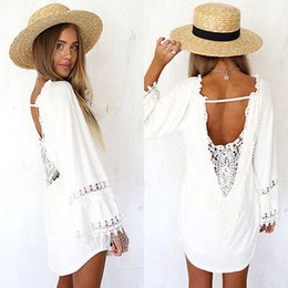 Wholesale Women White Lace Crochet Long Sleeve Bikini Cover Up Casual Beach Dress Swimwear