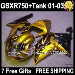 7gifts+Tank For SUZUKI 01 02 03 GSXR750 Gold black 2001 2002 2003 3G4307 GSXR-750 GSXR 750 GSX R750 K1 Golden black 01-03 GSX-R750 Fairings