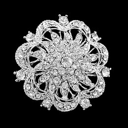 Wholesale Different Color Large Rhodium Silver Plated Rhinestone Crystal Round Flower Brooch Pins For Wedding Bouquet