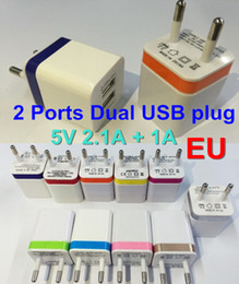 100pcs Dual ports USB Wall Charger Home travel adapter 5V 2.1A EU Metal Adapter 2 ports plug for iphone 6 Samsung
