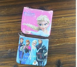 Wholesale Frozen PVC Coin purses wallets for children New style Anna Elsa pincess cartoon Mini Money Pouch Bags Best Gifts for kids