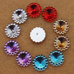 200pcs 12mm Resin Rhinestone Round flower shape Flatback Beads ZZ255
