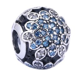 925 Sterling Silver Charms Ale Rhinestone Snowflake Charms for Pandora Bracelets DIY Beads Accessories Christmas Gift