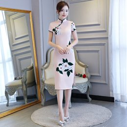 Shanghai Story Blend Cotton Chinese Style Dress Oriental Dress Flower Print Cheongsam Short Sleeve Floral Qipao For Women