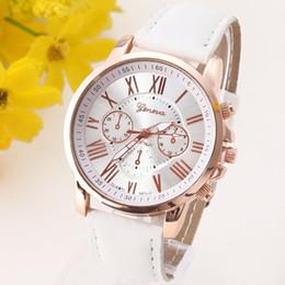 Los mejores relojes de moda de calidad en Línea-El reloj de cuero de la NUEVA de la calidad de Ginebra del reloj del platino de las mujeres del reloj ocasional de la PU viste el regalo del oro de las señoras del reloj de la manera Romano