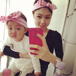 Wholesale Price Elastic Blend Baby Stripe Headbands Girl Hair Bunny Ears Stripe headband Bow Strechy Knot Headwear Hair Accessories ZJ03