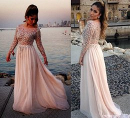 Wholesale 2016 Luxury Style Long Illusion Sleeve Plus Size Prom Dresses Scoop Neck Crystals Beads Sequins Floor Length Party Gowns Custom Made P97