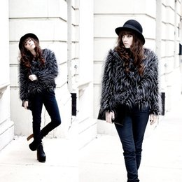 Wholesale-Women's Winter Warm Faux Ostrich Feather Fur Coat Long Hair Party Jacket Casual Plus Size Faux Fur Coats