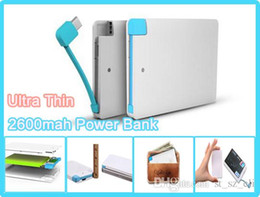 Wholesale 2600mah Ultra Thin Credit Card Power Bank mah USB Promotion with Built In USB Cable Backup Emergency with iphone adapter