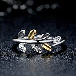Wholesale 925 Sterling Silver Laurel Leaves Finger Ring with Two Luxurious K Gold Leaves Original Pandora Style Fine Jewelry R053