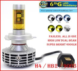 2016 NEW 1 Set H4 HB2 9003 CREE 80W 6000LM LED Headlight Conversion Kit Fanless All in One High Low Beam 6th G LED Bulb Super Bright LED Bul