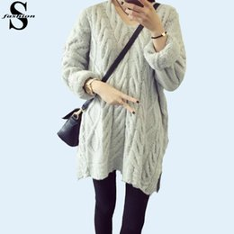 Wholesale Sexy Womens Split Hem V Neck Sweater Tunic Dolman Sleeve Cable Knit Loose Pullovers Winter Grey Coat Knitwear MTE1024