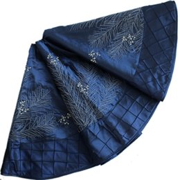 Wholesale Extra Large quot Faux Silk White Berry Embroidered Deluxe Christmas Tree Skirt Pintuck Border BLUE