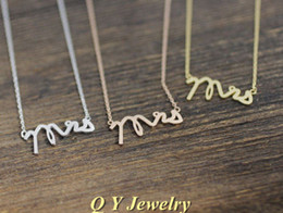 Wholesale-Fine Jewelry Hippie Chic Letters Mrs Necklace Boho Long Thin Chain Neclace Wedding Gift Necklaces For Women 2015 Collares