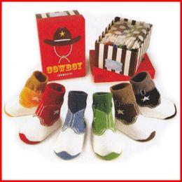 Wholesale Retail cotton baby striped shoes socks anti slip infant socks boys ankle socks sox Anti Slip Socks Shoes Slipper melee