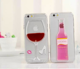 Wholesale 2015 Floating glitter liquid D Red Wine Cocktail Beer Hourglass Smart Phone case for iphone case plus clear Transparent PC