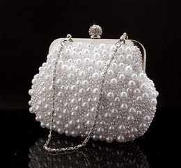 Wholesale-Lady's Luxurious Pearl Evening Bag Fashion Embroidery Beads Clutch Handbags with Chain Clutch Purse 3 Color NO7534 Free