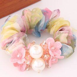 Wholesale New Korean Silk yarn Crystal Pearl Flower Hair Rope Women Fashion Hair Holder Hair Jewelry