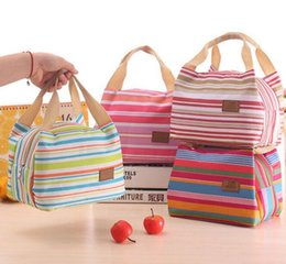 Wholesale Thermal Insulated Portable Cool Canvas Stripe Lunch Totes Bag Carry Case Picnic
