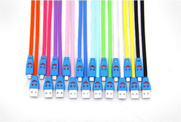 1m 3ft Visible Led Light Smile Face Flat Noodle Micro USB Data Sync Charger Cable Adapter For Samsung Galaxy s4 s3 LG HTC Nokia US05