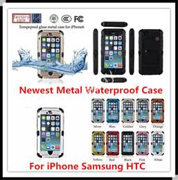 Le plus récent verre trempé imperméable à l'eau et le boîtier en métal dur pour iphone 6 plus 4.7 5.5 HTC ONE M7 M8 Samsung S3 S4 S5 avec support pour i6 à partir de supports métalliques pour le verre fournisseurs