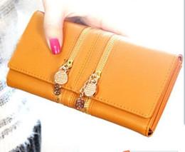Acheter en ligne À double bourse de portefeuille-Double Zipper New Occident Designer Femmes Filles Ladies Luxury Leather Wallet Purse long Coin f cas sac à main Carte support d'embrayage