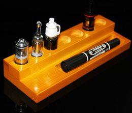 Promotion mods boîte en bois Le plus récent 2 étagères bois en bois ecigarette stand bois ecig ego support rack showhelf pour mod atomisateur rda 10ml bouteille eliquid boîte mod DHL