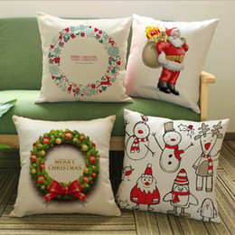 Wholesale-Cartoon Christmas Series Pillow Case PP Cotton Comics Style Square Pillow Cover With Zipper Christmas Home Supplies Pillowcase