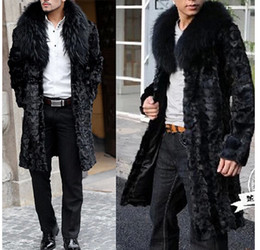 2014 fall autumn winter New men faux fox fur collar jackets casual cardigan jacket outwear long fur coat clothing WX140