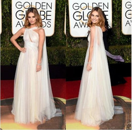 Wholesale 2016 Golden Globe Award Lily James Forma Tulle Celebrity Evening Dresses Tulle Floor Length Prom Party Gowns