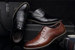 Wholesale-Genuine leather Men dress shoes, brown black oxford shoes for men,leather men shoes oxford Free Shipping